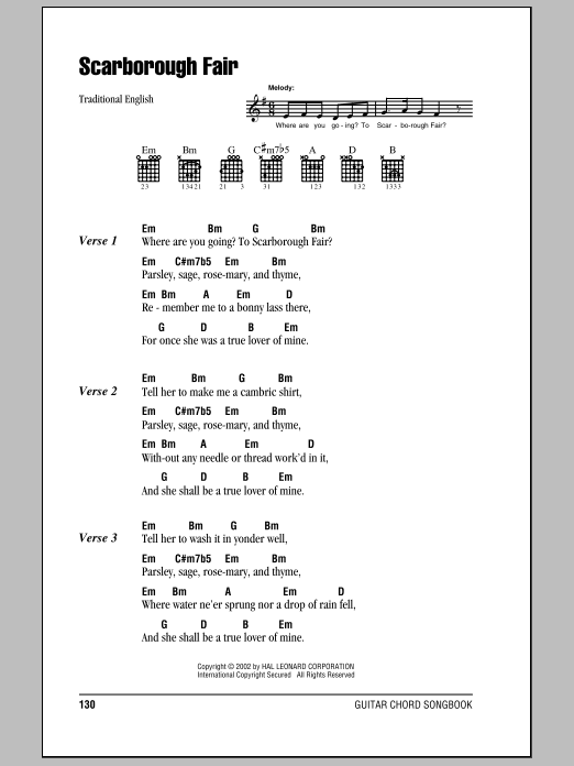 Scarborough Fair by Traditional English Ballad - Guitar Chords/Lyrics - Guitar Instructor
