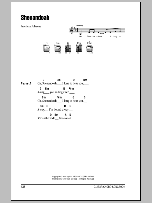 Shenandoah sheet music for guitar solo (chords, lyrics, melody) by American Folksong