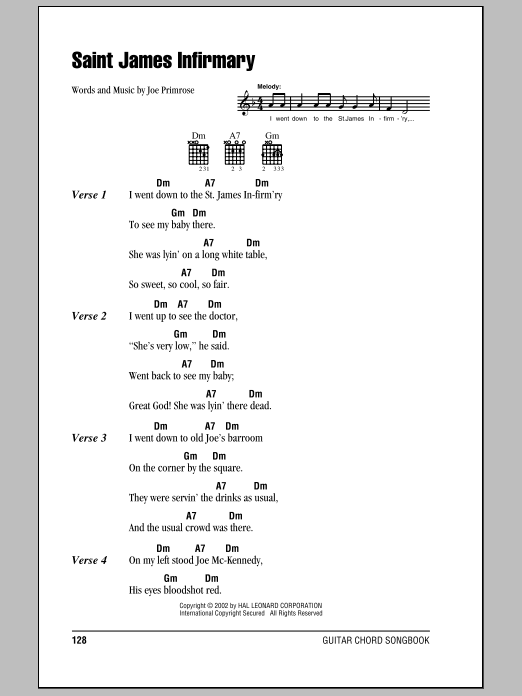 Saint James Infirmary sheet music for guitar solo (chords, lyrics, melody) by Joe Primrose