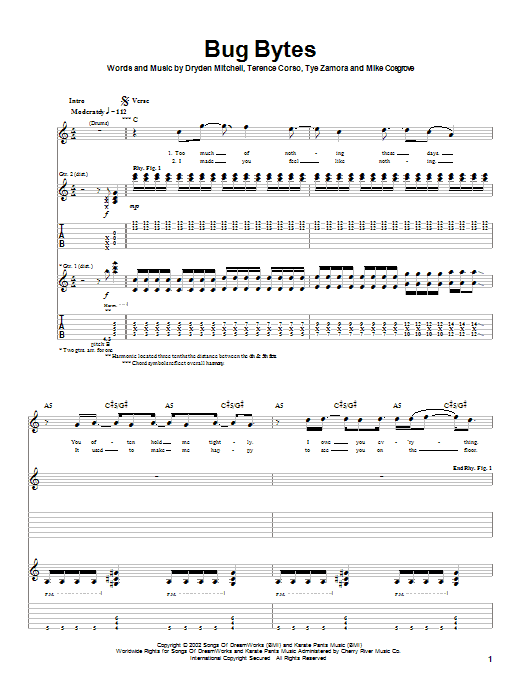 Tablature guitare Bug Bytes (from Spider-Man) de Alien Ant Farm - Tablature Guitare