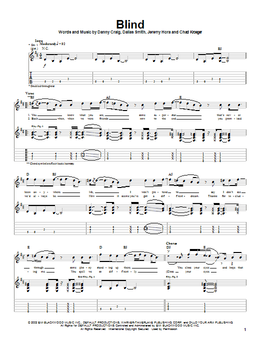 Tablature guitare Blind de Default - Tablature Guitare