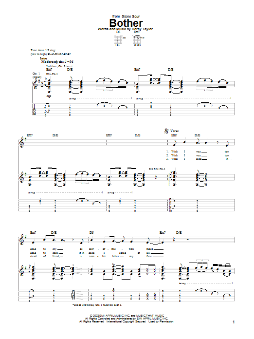 Bother sheet music for guitar solo (tablature) by Stone Sour