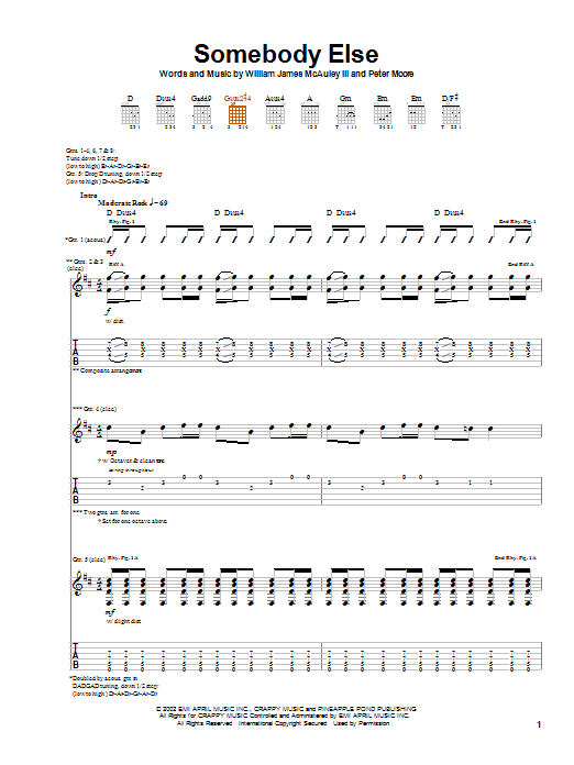 Tablature guitare Somebody Else (from Spider-Man) de Bleu - Tablature Guitare
