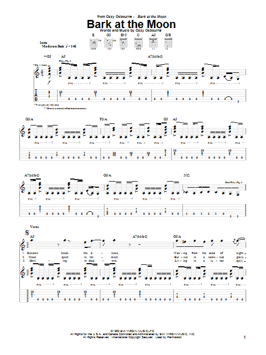 Bark At The Moon sheet music for guitar solo (tablature) by Ozzy Osbourne