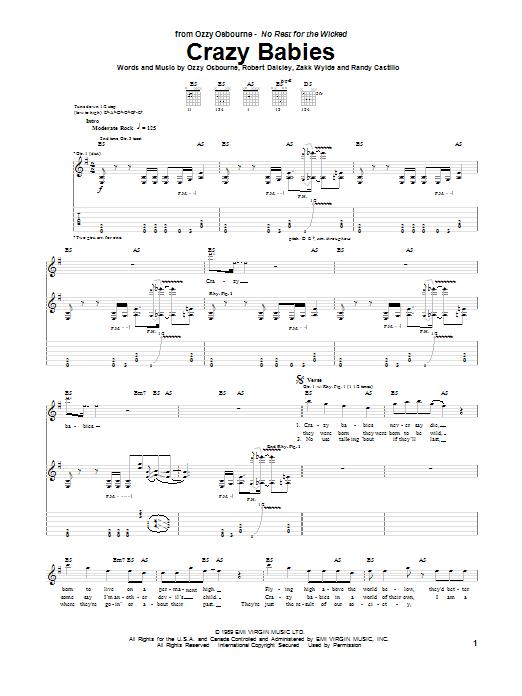 Tablature guitare Crazy Babies de Ozzy Osbourne - Tablature Guitare
