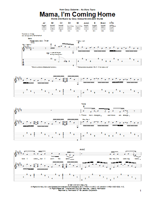 Tablature guitare Mama, I'm Coming Home de Ozzy Osbourne - Tablature Guitare