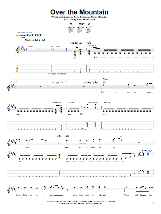 Tablature guitare Over The Mountain de Ozzy Osbourne - Tablature Guitare