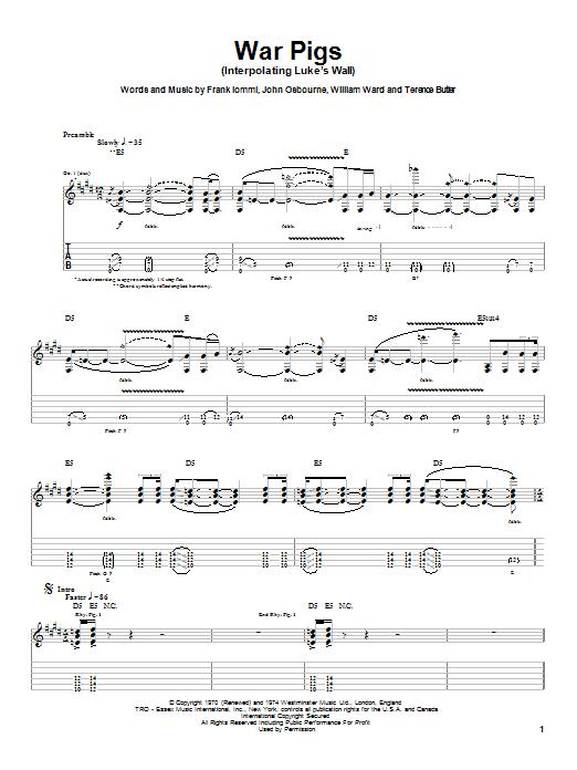 Tablature guitare War Pigs (Interpolating Luke's Wall) de Ozzy Osbourne - Tablature Guitare