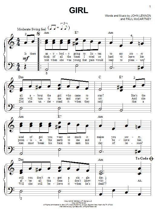 Partition piano Girl de The Beatles - Piano Facile
