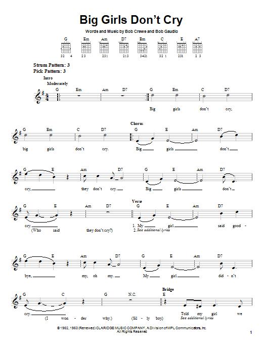 Tablature guitare Big Girls Don't Cry de Frankie Valli & The Four Seasons - Tablature guitare facile