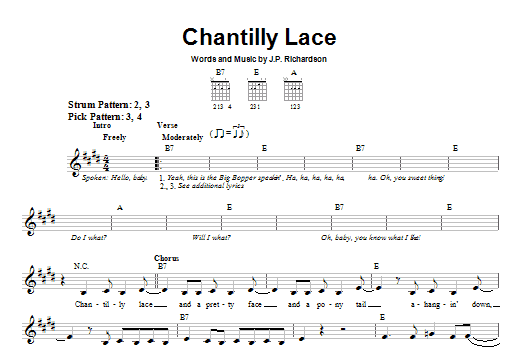 Tablature guitare Chantilly Lace de The Big Bopper - Tablature guitare facile