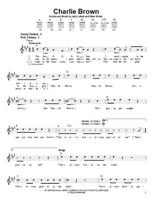 Tablature guitare Charlie Brown de The Coasters - Tablature guitare facile