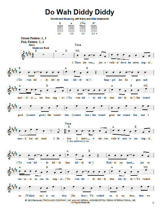 Tablature guitare Do Wah Diddy Diddy de Manfred Mann - Tablature guitare facile