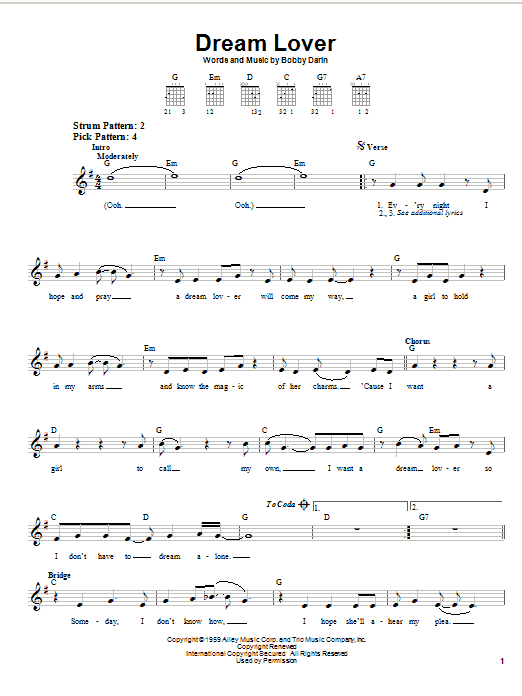 Tablature guitare Dream Lover de Bobby Darin - Tablature guitare facile
