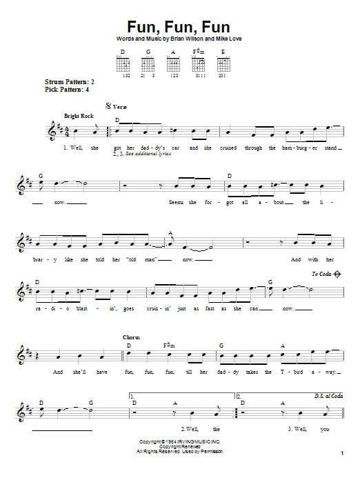 Tablature guitare Fun, Fun, Fun de The Beach Boys - Tablature guitare facile