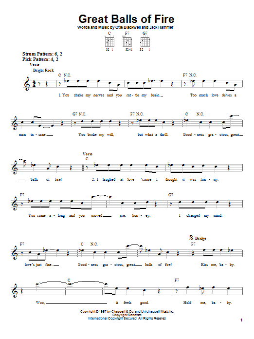 Tablature guitare Great Balls Of Fire de Jerry Lee Lewis - Tablature guitare facile
