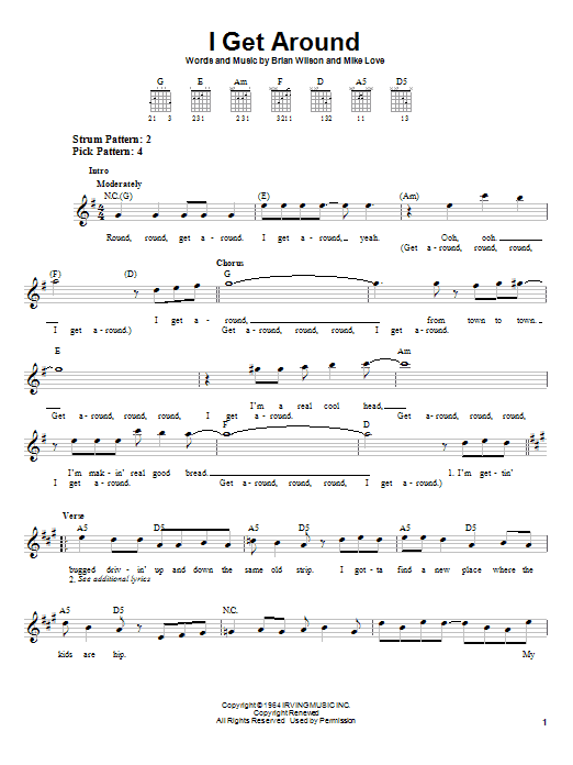 Tablature guitare I Get Around de The Beach Boys - Tablature guitare facile