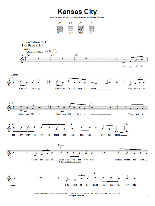 Kansas City sheet music for guitar solo (chords) by Mike Stoller