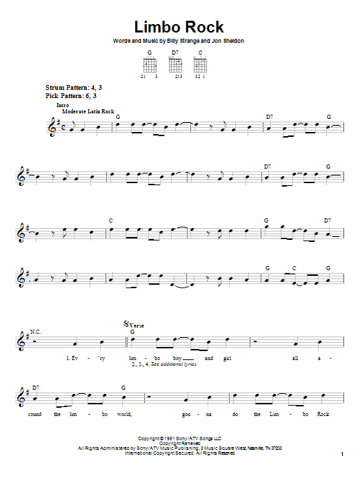 Limbo Rock sheet music for guitar solo (chords) by Jon Sheldon