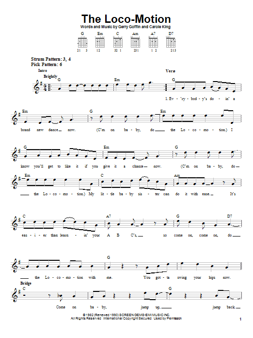 Tablature guitare The Loco-Motion de Grand Funk - Tablature guitare facile