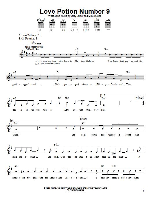 Tablature guitare Love Potion Number 9 de The Searchers - Tablature guitare facile