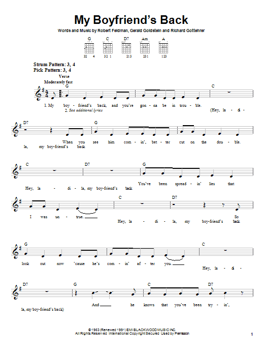 Tablature guitare My Boyfriend's Back de Bobby Comstock - Tablature guitare facile
