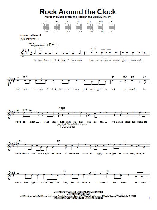 Tablature guitare Rock Around The Clock de Bill Haley & His Comets - Tablature guitare facile