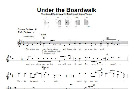 Tablature guitare Under The Boardwalk de Bette Midler - Tablature guitare facile