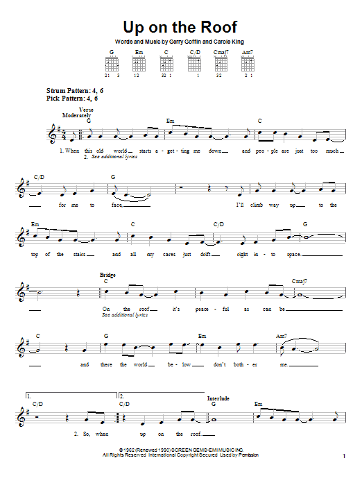 Tablature guitare Up On The Roof de The Drifters - Tablature guitare facile