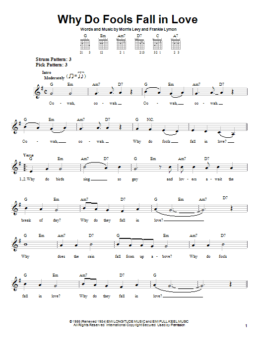 Tablature guitare Why Do Fools Fall In Love de Frankie Lymon & The Teenagers - Tablature guitare facile