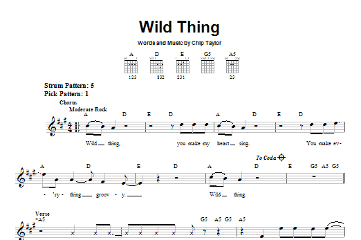 Tablature guitare Wild Thing de The Troggs - Tablature guitare facile