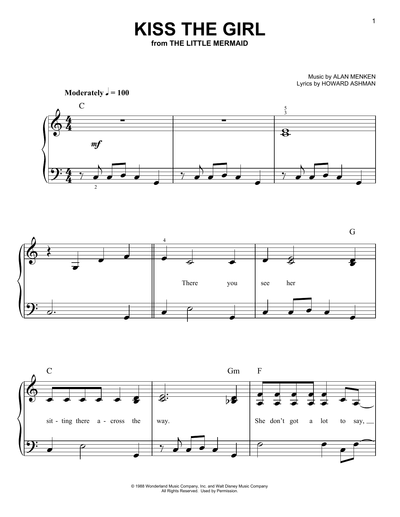 Partition piano Kiss The Girl de Samuel E. Wright - Piano Facile