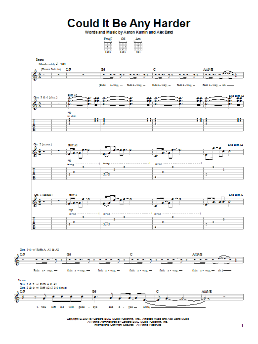 Could It Be Any Harder sheet music for guitar solo (tablature) by Alex Band