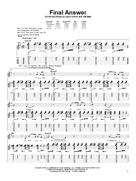 Tablature guitare Final Answer de The Calling - Tablature Guitare