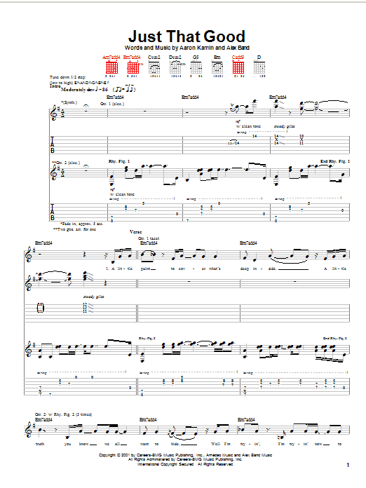 Just That Good sheet music for guitar solo (tablature) by Alex Band