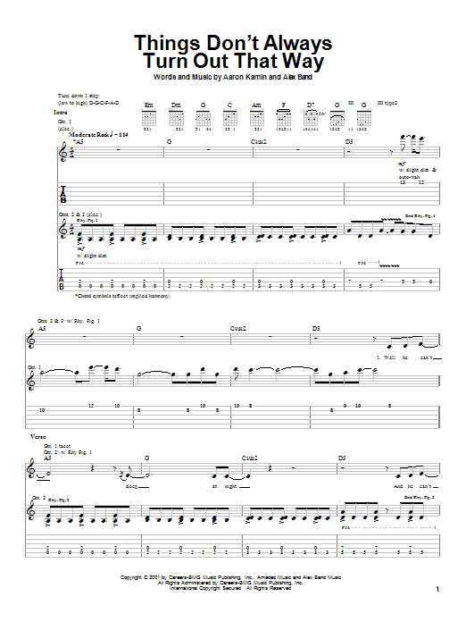 Tablature guitare Things Don't Always Turn Out That Way de The Calling - Tablature Guitare