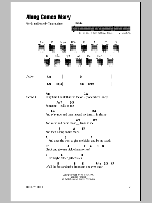 Along Comes Mary sheet music for guitar solo (chords, lyrics, melody) by Tandyn Almer