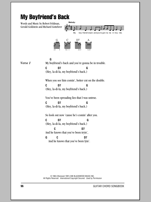 My Boyfriend's Back sheet music for guitar solo (chords, lyrics, melody) by Robert Feldman