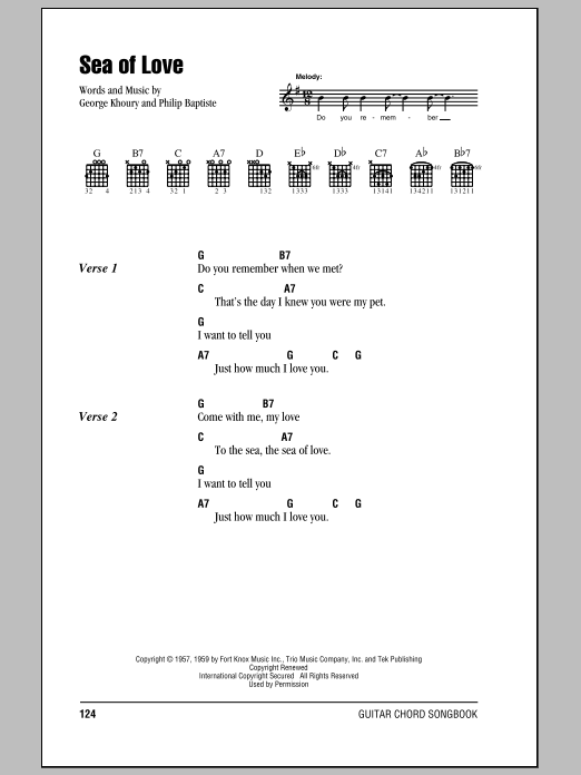 Sea Of Love sheet music for guitar solo (chords, lyrics, melody) by Phil Baptiste