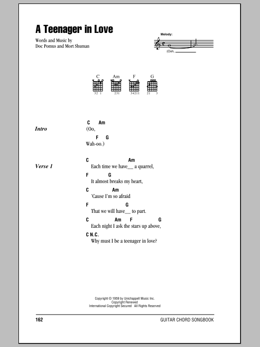 A Teenager In Love sheet music for guitar solo (chords, lyrics, melody) by Dion & The Belmonts
