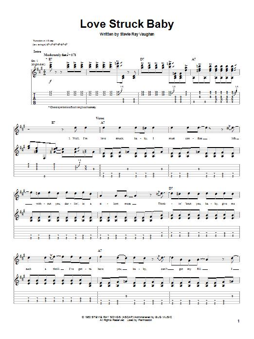 Tablature guitare Love Struck Baby de Stevie Ray Vaughan - Tablature Guitare