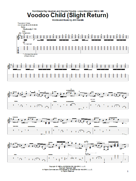 Tablature guitare Voodoo Child (Slight Return) (Live) de Stevie Ray Vaughan - Tablature Guitare