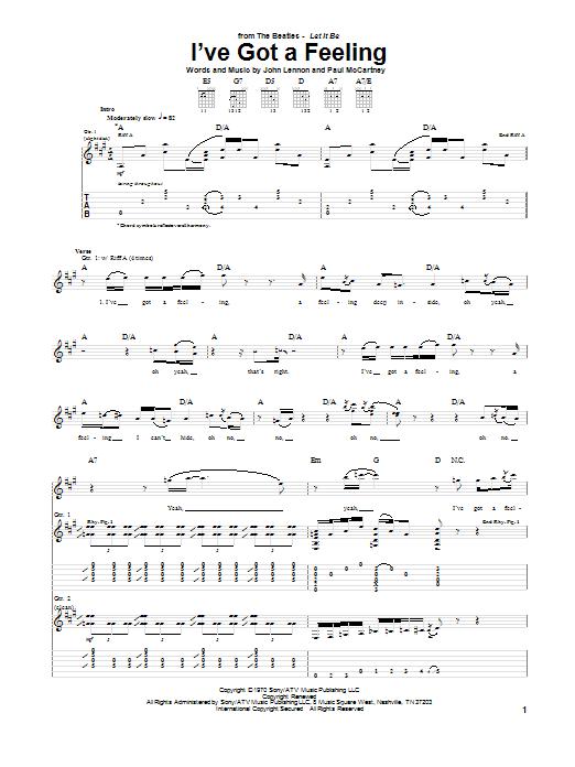 Tablature guitare I've Got A Feeling de The Beatles - Tablature Guitare