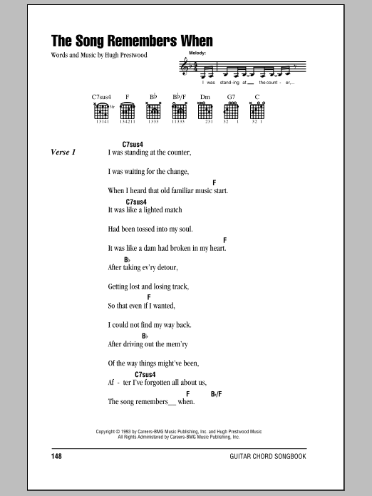 The Song Remembers When sheet music for guitar solo (chords, lyrics, melody) by Hugh Prestwood