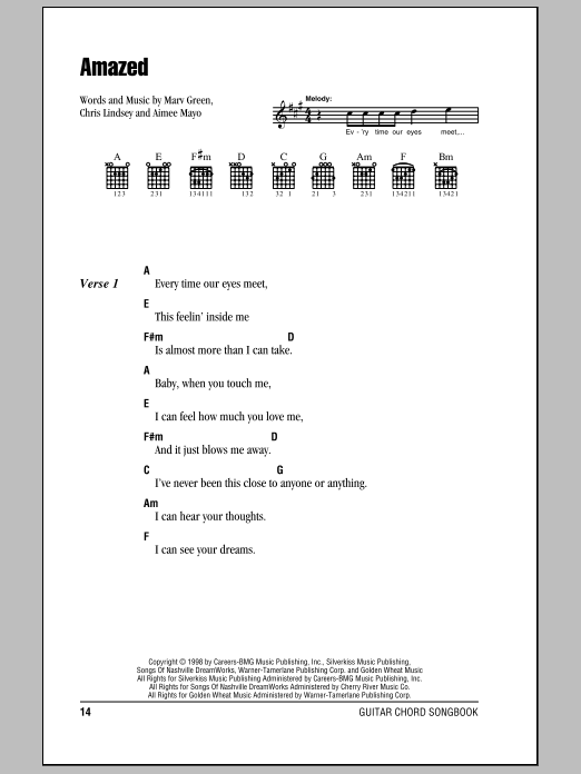 Amazed sheet music for guitar solo (chords, lyrics, melody) by Marv Green