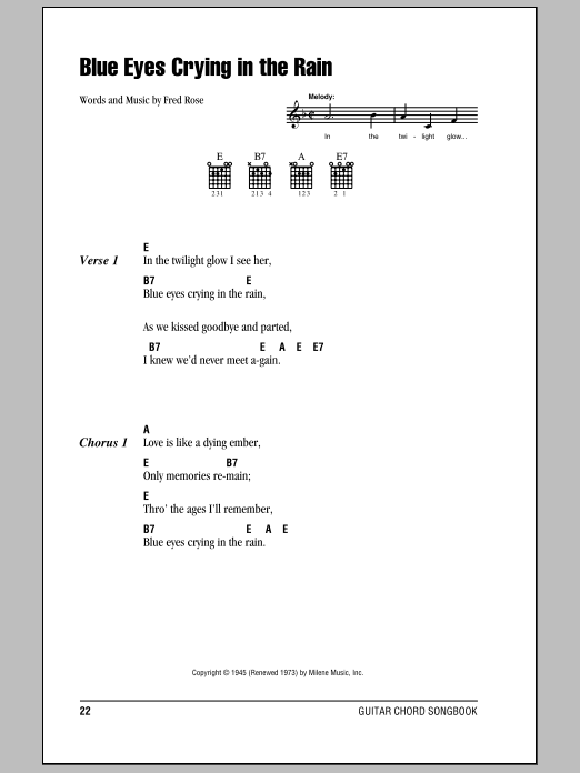 Blue Eyes Crying In The Rain sheet music for guitar solo (chords, lyrics, melody) by Fred Rose