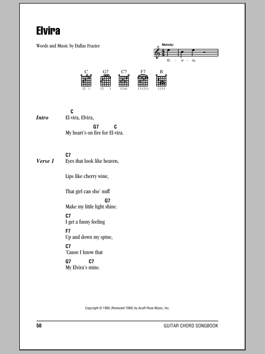 Elvira sheet music for guitar solo (chords, lyrics, melody) by Dallas Frazier