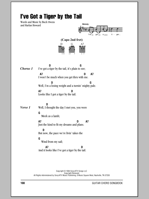 I've Got A Tiger By The Tail sheet music for guitar solo (chords, lyrics, melody) by Harlan Howard