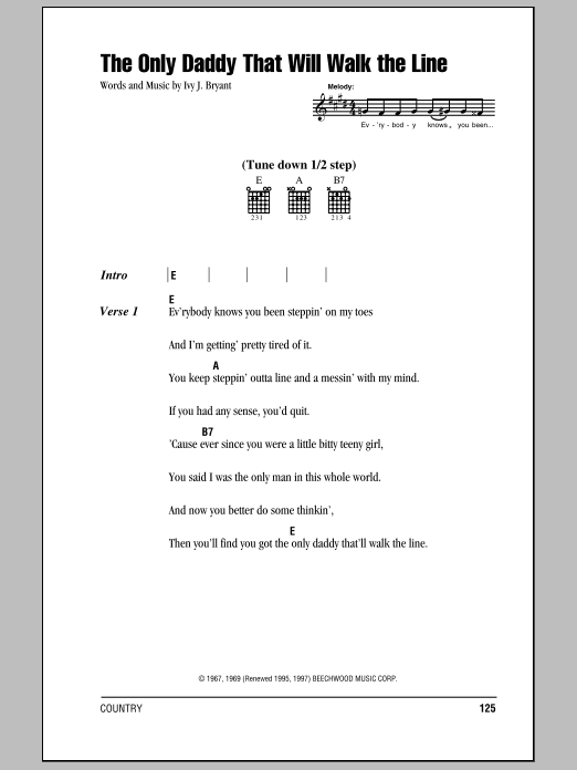 The Only Daddy That Will Walk The Line sheet music for guitar solo (chords, lyrics, melody) by Ivy J. Bryant