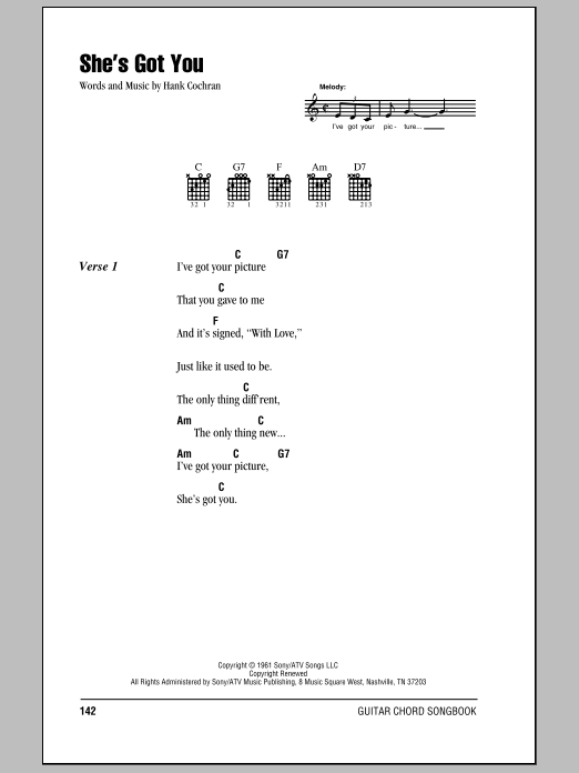 She's Got You sheet music for guitar solo (chords, lyrics, melody) by Hank Cochran